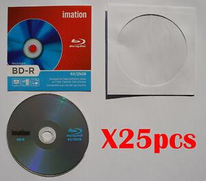 25pcs Imation BD-R Blu-Ray Disc 6X 25GB + 25pcs Paper Sleeve