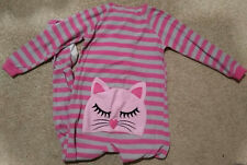 KatNap Kids One-Piece Footed Fleece Pajamas/Sleep Wear-Pink/Gray Striped/Cat-6/8