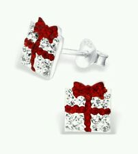 Childrens Girls Sterling Silver Christmas Box Crystal Stud Earrings -  Pouch