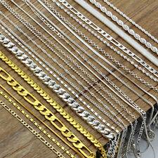 "Men Women 925 Silver Figaro Snake Rolo Box Chain Necklace Unisex Jewelry 16""-30"""