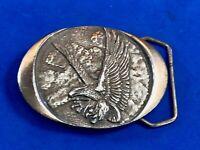 Vintage 1982 Indiana Metal Craft flying diving eagle oval western belt buckle