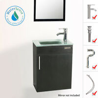 """Eclife 19"""" Small Bathroom Vanity Wall Mount Glass Sink Faucet Drain Combo P Trap"""