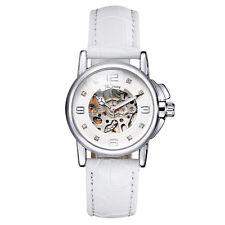 WINNER Fashion Leather Skeleton Women Automatic Mechanical Wrist Watch CT