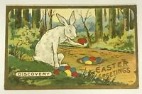 ~Cute Bunny Rabbit with Colored Eggs~Antique Easter Fantasy Postcard-m281
