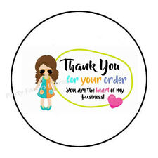 "30 THANK YOU FOR YOUR ORDER GIRL ENVELOPE SEALS LABELS STICKERS 1.5"" ROUND"