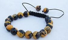 Men's Shamballa bracelet all 10mm  NATURAL Fire Crackle AGATE stone beads