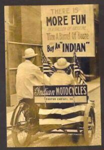 REAL PHOTO CORPUS CHRISTI TEXAS INDIAN MOTORCYCLE ADVERTISING POSTCARD COPY
