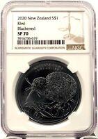 2020 New Zealand $1 Kiwi Blackened Specimen 1 oz .999 Silver Coin - NGC SP 70