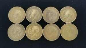 Lot Of 8 British Pennies 1914-1938