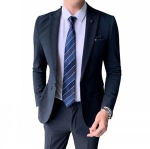 Men's 2PCS Suit Striped Formal Dress Blazer Jacket Pants Business Dinner Slim L