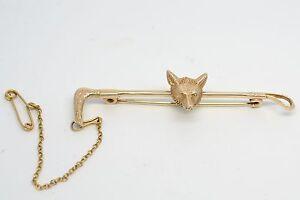 Fantastic Vintage 9ct Gold Fox Riding Crop Brooch