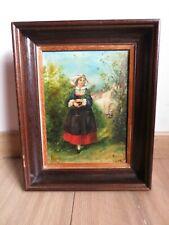 Ancienne peinture sur accajou non signé 20 cm sur 15 cm