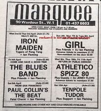 IRON MAIDEN GIRL UK TIMELINE Advert - Marquee 2/3 Weds/Thurs April 1980 3x4 inch