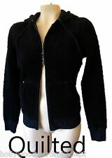 Juicy Couture BLACK velvet quilted NEW velour track suit top hoodie xl goth yoga