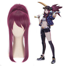 LOL KDA Akali Cosplay Wig Dark Red Hair Ponytail Straight Wig The Rogue Assassin