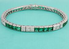 "14K White Gold Over 8.95Ct Round Cut Diamond & Emerald Tennis Bracelet 7"""