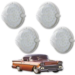 1958 Chevy Impala Bel Air Biscayne LED Clear Front Park Light Lamp Lens Set of 4