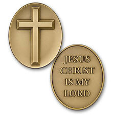 Cross / Jesus Christ is My Lord Challenge Coin Token Medal Prayer Oval Bronze