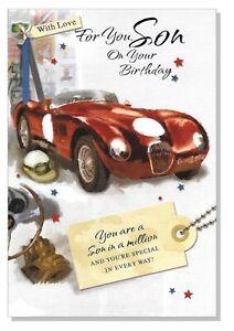 "Son Happy Birthday Card - Sport Car Loving Verse Mens Male -  LARGE 9""x6"""
