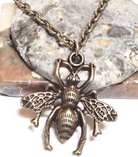 """QUEEN BEE_Bronze Charm Pendant on 18"""" Chain Necklace_Bumble Honey Wax Wings_27N"""