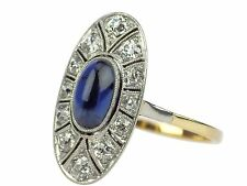Jugendstil 585 Gold 950 Platin 0,30 ct Diamant 1,20 ct Saphir Verlobung Ring !
