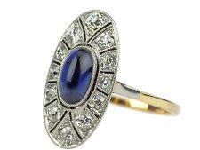 Jugendstil 585 Gold 950 Platin 0,30 ct Diamant 1,20 ct Saphir Verlobung Ring !