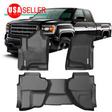 Front & Rear Floor Mats Liners For 2015-2018 Chevy Silverado 1500 2500HD 3500HD