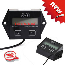 Digital Tach Tachometer Hour Meter For Motorcycle ATV Generator Spark Plug