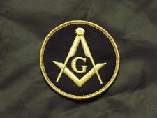 Master Mason Square Compass Patch Black Gold Iron Sew Freemason Fraternity NEW!