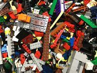 Lego 2 LBS  HUGE BULK LOT MIXED  BRICKS PARTS SMALL PLATES + MINIFIG