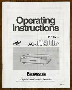 Panasonic AG-DV2000 Mini-DV Studio VCR Pro Digital Video Cass Recorder MANUAL