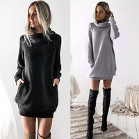 Womens Knitted Mini Dress Roll Neck Jumper Sweater Dress Warm Ladies Mini Dress