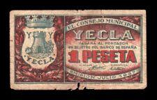 B-D-M España Billete Local Yecla, Murcia 1 Peseta 1937 BC- G