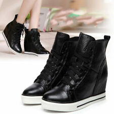 Women Genuine Leather Fashion Wedge Sneaker High Top Oxfords Lace Up Oxfords Hot