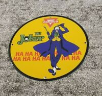 VINTAGE CONOCO GASOLINE PORCELAIN THE JOKER COMIC MOTOR OIL SERVICE PUMP SIGN