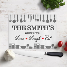 Large Personalised Where We Love Laugh & Eat Glass Cutting Chopping Board Gift