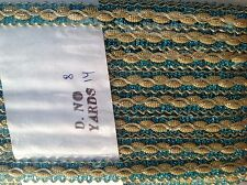 TURQUOISE GOLD LUREX BRAID TRIMMING EDGING 13 YRDS & 1CM WIDE CRAFTING COSTUME