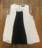 Apt 9 Black White & Black Dressy Formal Blouse Shirt Top Sleeveless EUC!