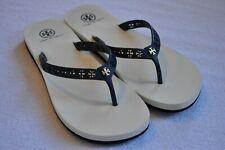 Tory Burch Thong Logo Flip Flops - Navy Blue & White - Rubber sole - Size 8