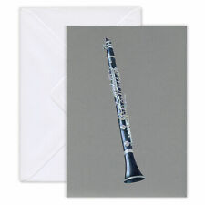 Buffet R13 B Flat Clarinet Coloured Pencil  Folded Greeting Card. Blank inside.
