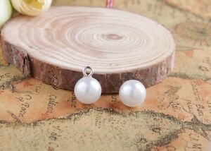 50PCS White Faux Pearl Button Charms Sewing Scrapbooking Craft