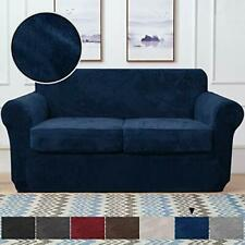 RHF Velvet Couch Cover 3 Piece Couch Covers for 2 Cushion Couch (Loveseat|Navy)