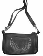 Genuine Leather Belt Bag - Hip Clip Purse - Silver Wings - Motorcycle Riders