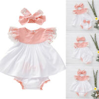 Newborn Baby Girl Kid Floral Lace Dress Tops+Bow PP Shorts+Headband Outfits Sets