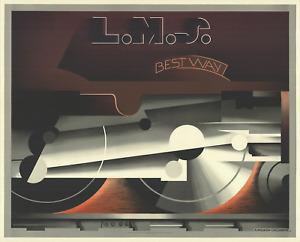 A.M. CASSANDRE L.M.S Best way 36.25 x 45.25 Lithograph 1985 Vintage Train