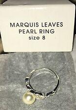Avon Marquis Leaves Pearl Ring Size 8 NIB 2013