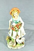 "HOMCO #8881 8"" Tall Woman Harvesting Fruits With Chicken Figurine VINTAGE"