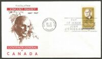 CANADA FDC 1969 VINCENT MASSEY 6C STAMP FIRST DAY OF ISSUE CANADA COVER