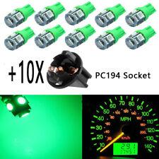 10X Green T10 168 5SMD LED Instrument Panel Light bulbs +10 Sockets PC194