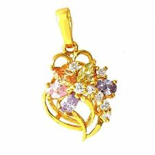 Beautiful Yellow Gold Filled  Multi-colour CZ Womens Flower Pendant A1818